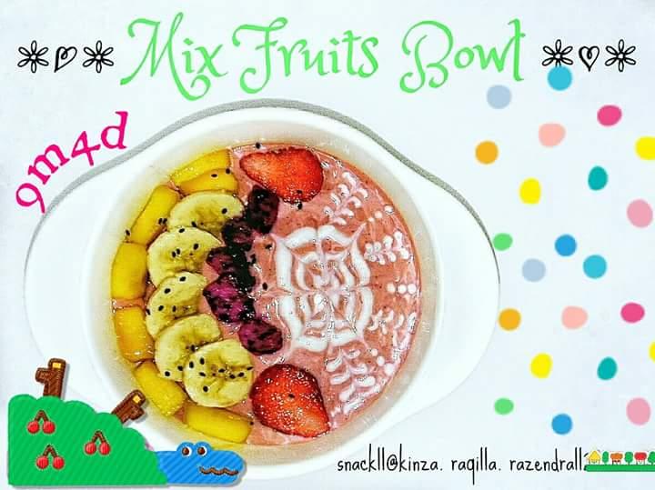 Resep MPASI MIX Fruits Bowl Rasa Strawberry Oatmeal (Bayi +6 Bulan)