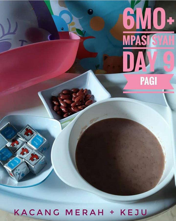 Menu Tunggal MPASI Puree Kacang Merah Keju untuk Bayi umur 6 Bulan Day 9 (Pagi)